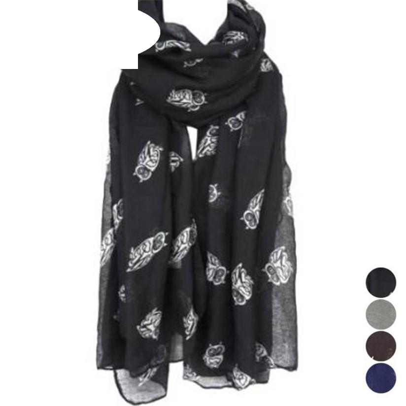 Hot Marketing Hot Selling Lady Womens Long Cute Owl Print   Scarf     Wraps   Shawl Soft   Scarves   Free Shipping Wholesale silenciador