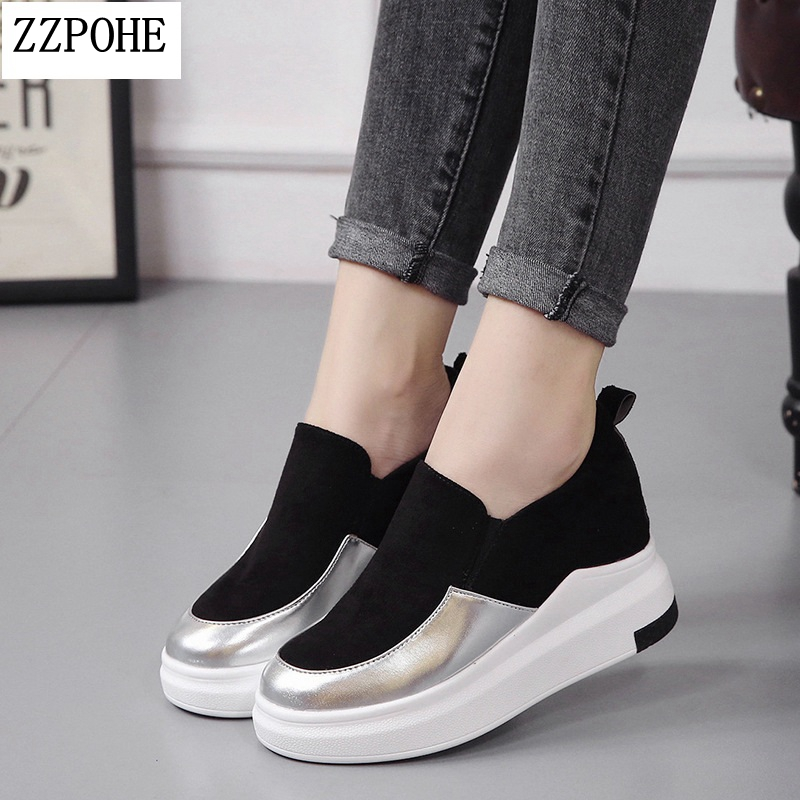 2018 Spring Autumn Women's Shoes ladies   suede     leather   flat shoes Platform Woman Casual Slip On Shoes Female Shoe Plus Size 35-40
