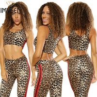 IMYSEN Summer Autumn Sexy Women Two Piece Set Leopard Printed Tank Tops Pants Suit 2PCS Sleeveless New Arrive