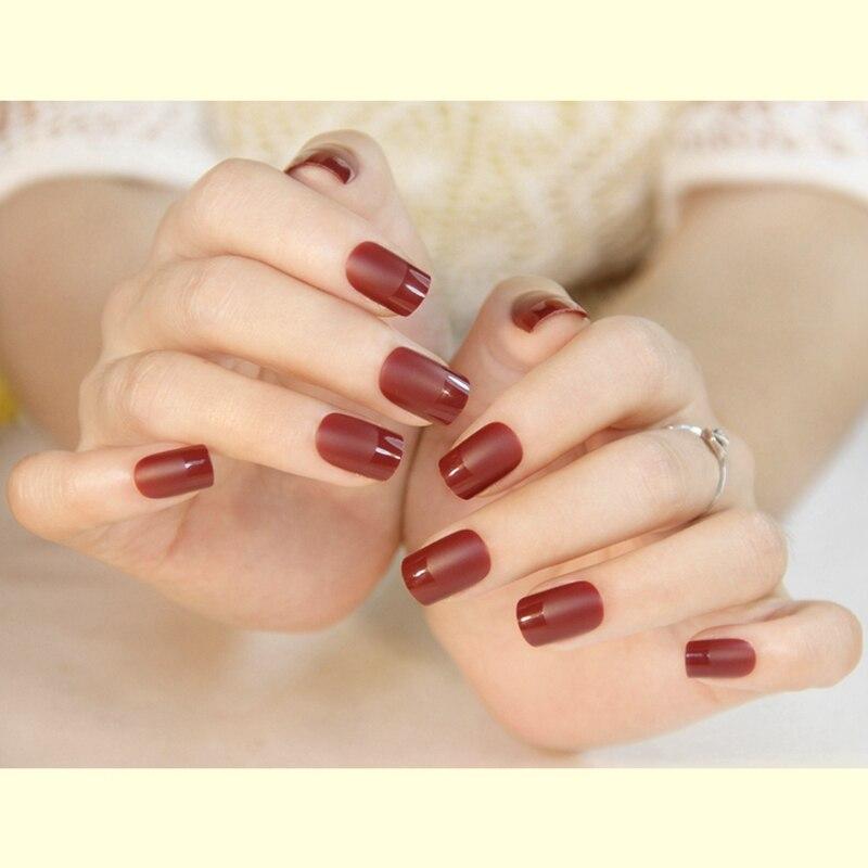 Moda mate clavo falso color rojo oscuro de acrílico manicure francés ...