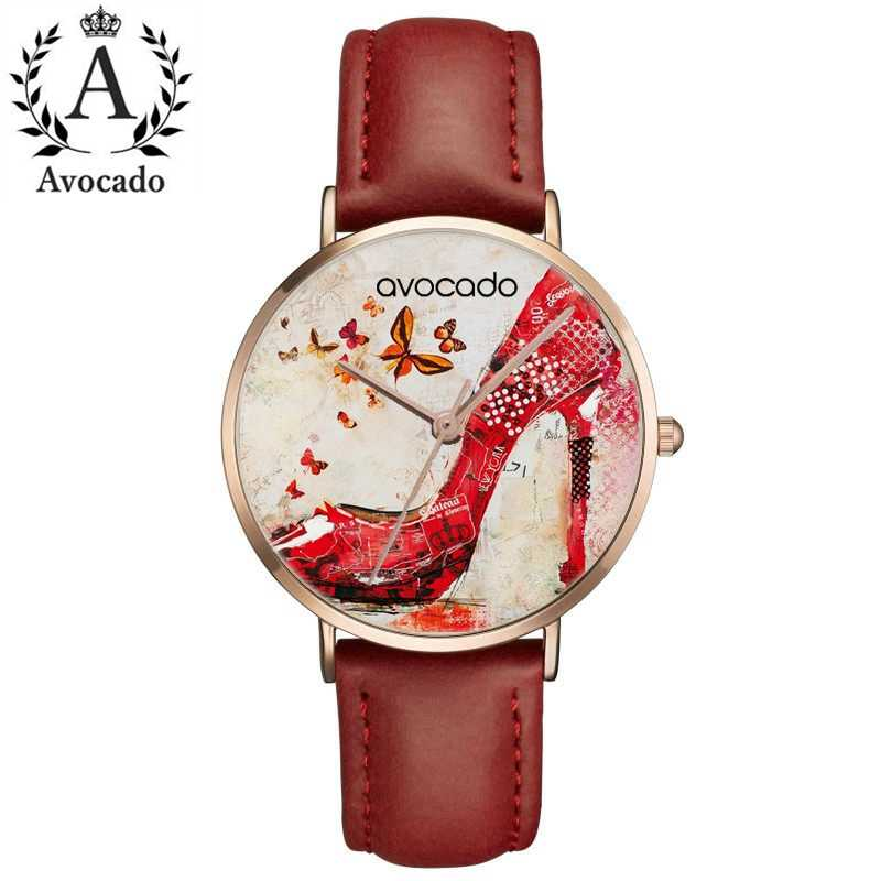 Red Butterfly High Heels Relojes Mujer Bear Quartz Leather Wrist Watches Clock Red Black Leather watchband