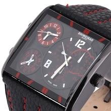 Shiweibao A1475 3 zona horaria de cuarzo reloj de cuero relojes ronda Dial hebilla de cierre
