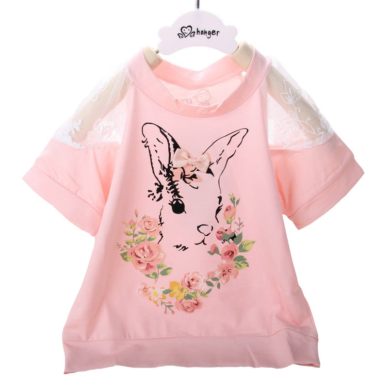 0-4T Baby girls Tee shirts 2018 Summer new cotton Rabbit floral rabbit lace shirt for todder girls tops outwear