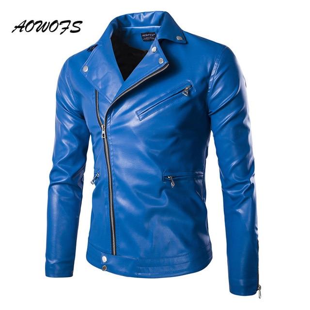 AOWOFS Mens Blue Leather Jackets Slim Fit Leather Blouson Jacket ...