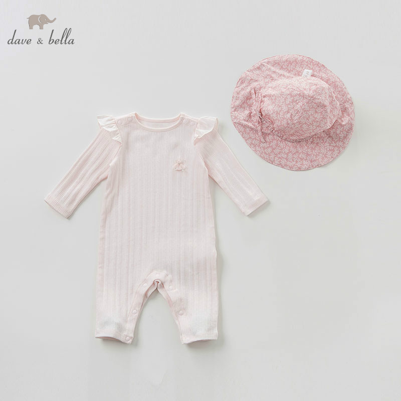 DBH10051 dave bella spring new born baby long sleeve romper infant toddler girls cute jumpsuit children bodysuit with hatDBH10051 dave bella spring new born baby long sleeve romper infant toddler girls cute jumpsuit children bodysuit with hat
