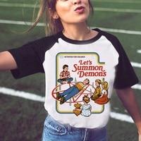 Забавные Хэллоуин рубашка сатана Винтаж Для женщин футболка давайте вызвать демоны Футболка с принтом Harajuku Лето Tumblr футболка Женские