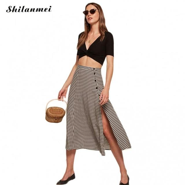 cdb5ee9426fe3a 2017 Summer white and black plaid skirts boho A-line side slit skirts hight  waist buttons ladies skirt saia feminina