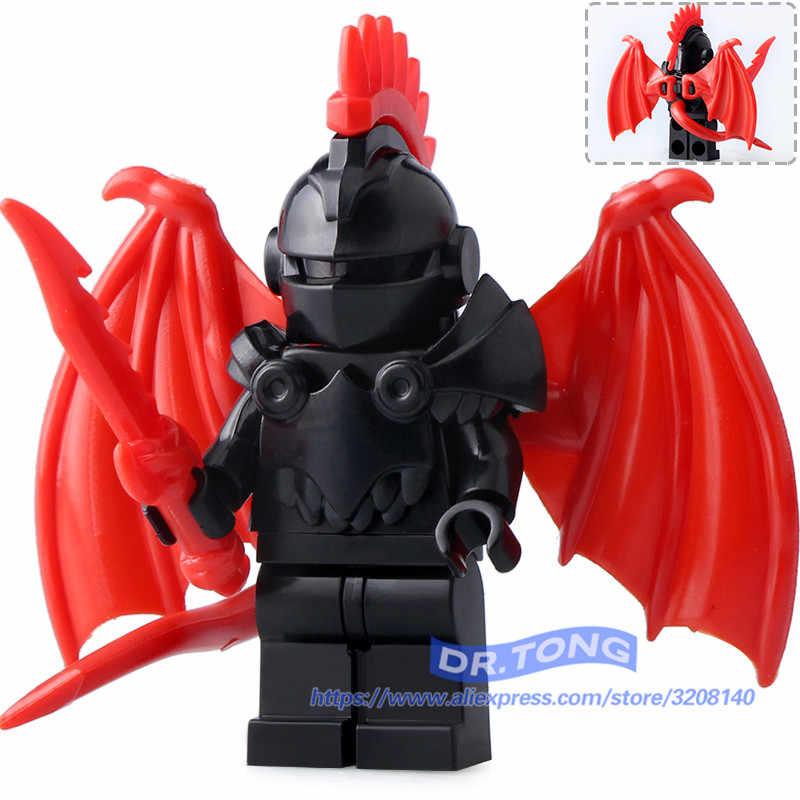 Venta única Castillo Medieval caballeros dragón caballeros el Señor de los anillos figuras con armadura bloques de construcción juguetes de ladrillo