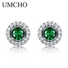 UMCHO Princess серьги-гвоздики нано изумруд драгоценный камень 925 пробы серебряные серьги для женщин Классический Круглый драгоценный камень хорошее ювелирное изделие
