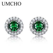 UMCHO Princess Stud Earrings Nano Emerald Gemstone 925 Sterling Silver For Women Classic Round Fine Jewelry