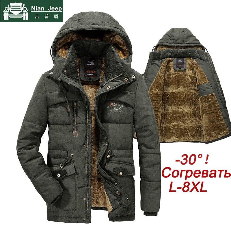 Plus Size 7XL 8XL Winter Jacket Men Thick Warm Mens Parkas Wool Liner Hooded Coat Male Outwear Windproof Multi-pocket Jackets