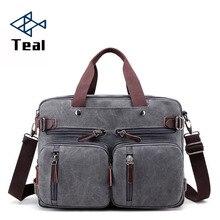 все цены на 2019 Men Canvas Bag Canvas Briefcase Travel Suitcase Messenger Shoulder Tote Back Handbag Large Casual Business Laptop Pocket онлайн