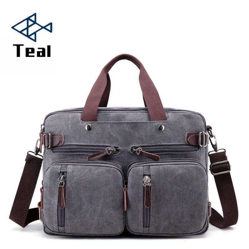 2019 Men Canvas Bag Canvas Briefcase Travel Suitcase Messenger Shoulder Tote Handbag Large Casual Business Laptop Multifunction