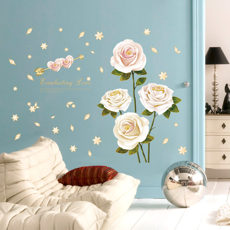 % Romantic White Red Rose Flower Love Wall Stickers Plants Petal Home Decoration Bedroom Living Room Wardrobe Diy Mural Decals