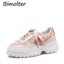 Bimolter Fashion Brand Lady Casual Genuine Leather Vulcanized Shoes Women Girl Leisure Platform Sneaker Ribbon Lace Up NC085