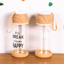 300ml Factory direct wood color double layer glass kettle transparent heat high borosilicate bottle Free shipping