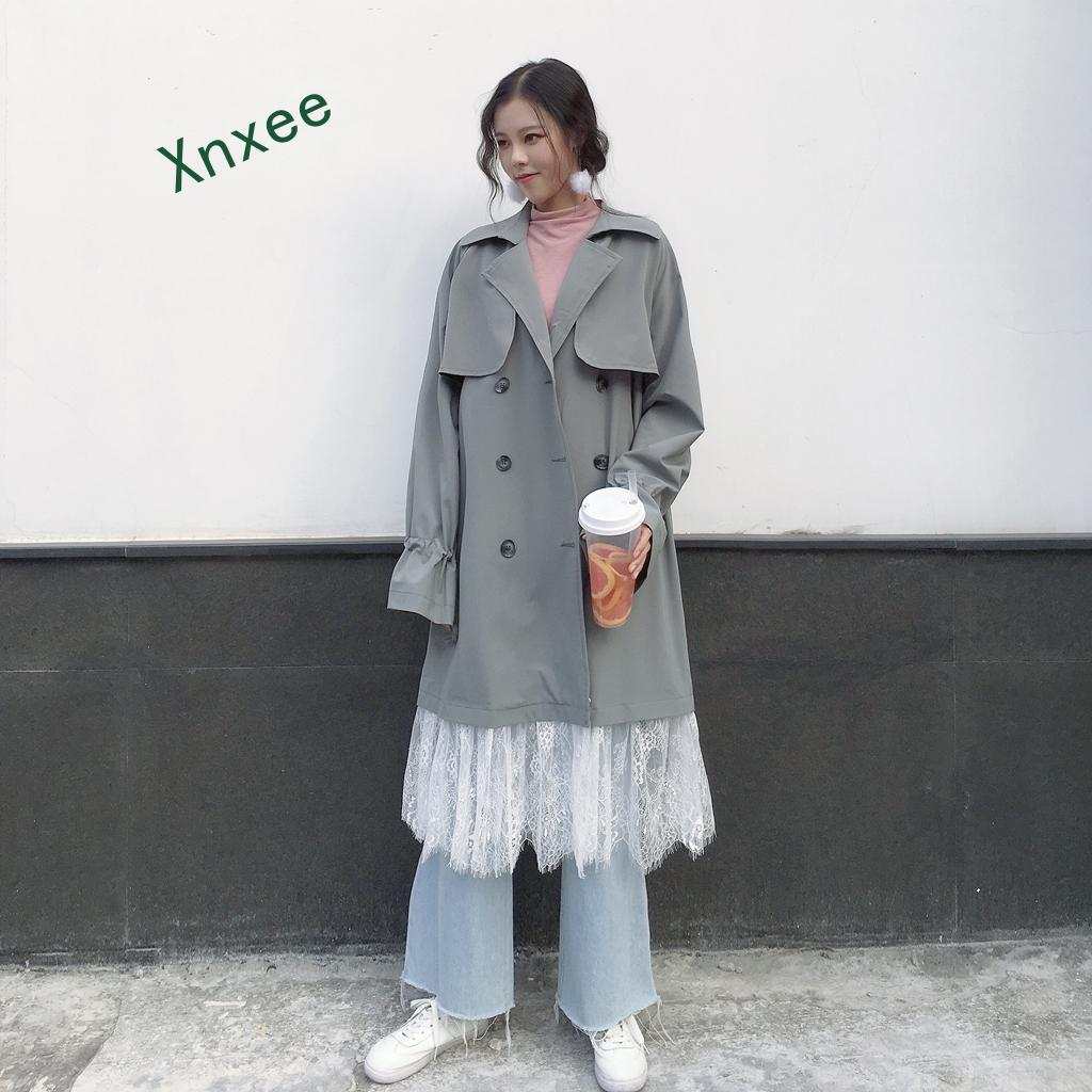 Xnxee Autumn Spring Fashion New Chic Double-breasted Women Windbreaker Lace Hemp Patchwork Full Sleeve Long Female   Trench   Coat