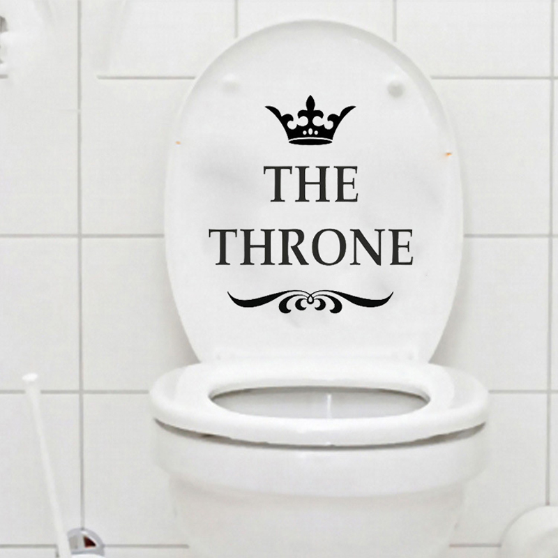 Hot sale New DIY THE THRONE Funny Interesting Toilet wall Stickers for kids rooms Wall Stickers home decor living Room Bathroom