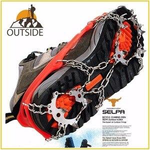 Quality Outdoor Climbing Antiskid Crampons Winter Walk 18 Teeth Ice Fishing Snowshoes Manganese Steel Slip Shoe Covers(China)