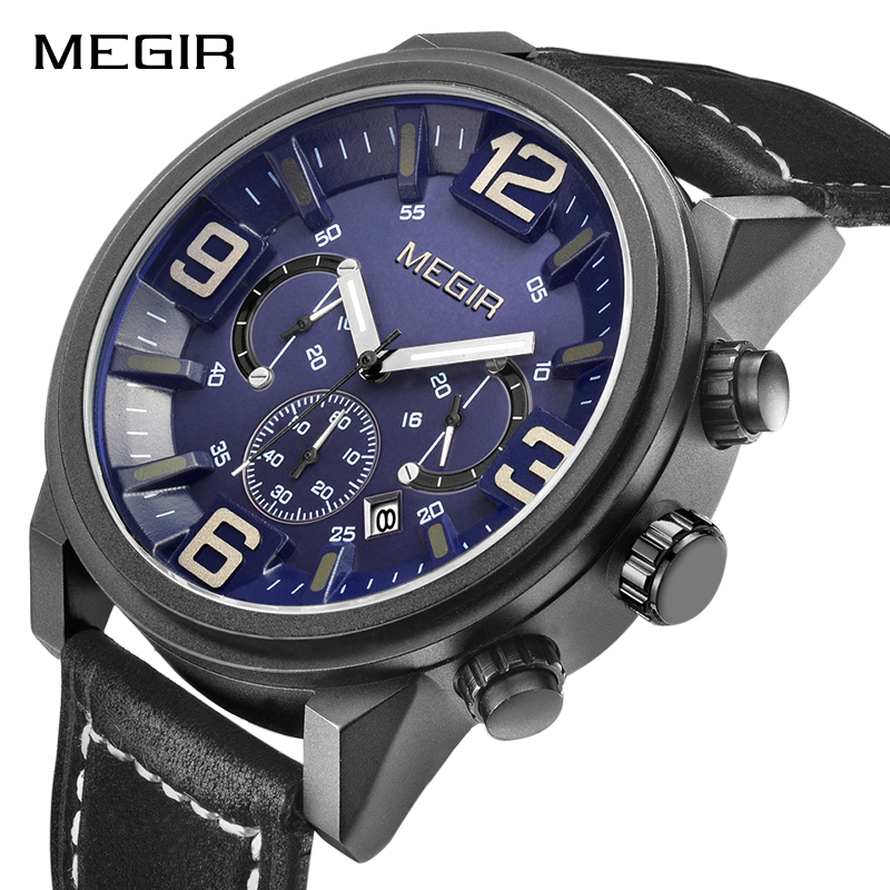 MEGIR Men's Sports Wristwatches Fashion Luxury Brand Watch Men Military 3D Dial Quartz Watches Waterproof Male Relogio Masculino