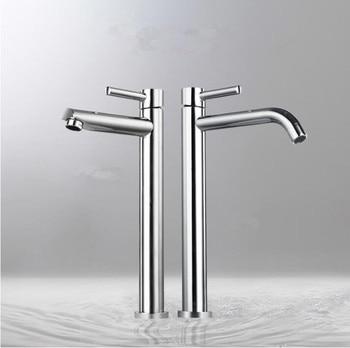 Латунный хромированный высокий смеситель для раковины для ванной комнаты тонкий горячий и холодный смеситель для раковины Смеситель для в...