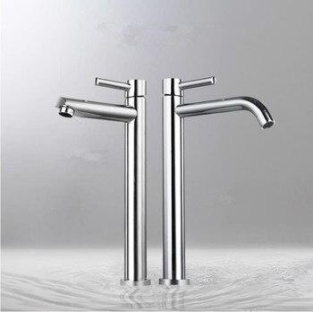 Mosiądz chromowany Wysoki kran zlew łazienka szczupła gorące i zimne umywalka wody mixer tap łazienka pojedynczy kran zlew bezpłatna wysyłka