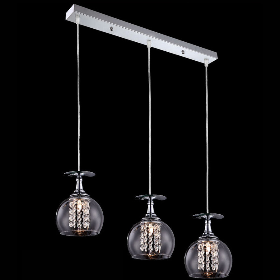 LED Crystal Glass Shade Dining Room Pendant light Modern Bar Counter Restaurant Pendant Lights Balcony Corridor Suspension Lamp