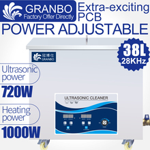 New 38L 720W Ultrasonic Machine Industrial Cleaner 28KHZ Ultrasonic Power Heating Digital Oil Rust Washer Movable Caster