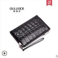ouluoer 2019 new Thai crocodile leather envelope men's bag large capacity business hand bag clutch bag men wallet