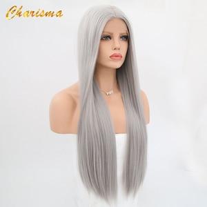 Image 5 - カリスマロングブロンドコスプレかつら絹のようなストレートの合成レースフロントウィッグ女性 10 色ピンク黒グレーで髪