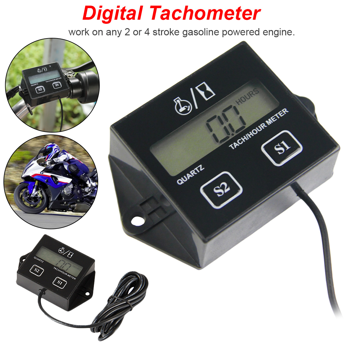 LCD Digital Engine Tach Hour Meter Tachometer Gauge Inductive Display For Motorcycle Motor Marine Engine chainsaw pit bike Boat