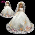 Wedding Party Dress Princess Sequin Gown Bridal Veil Lace Costume For Barbie Doll Clothes Dollhouse Accessories Toys Kid Gift