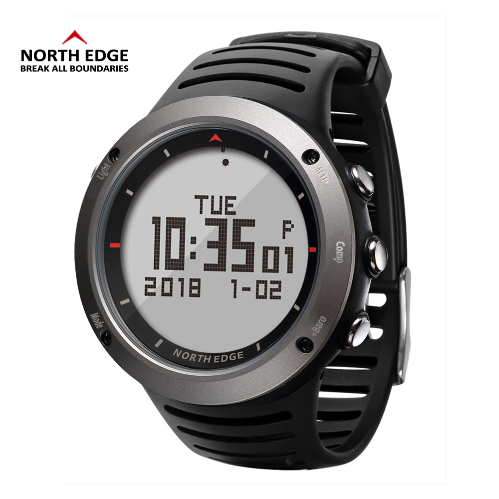 все цены на NORTH EDGE Men Sport Watch Altimeter Barometer Compass Thermometer Step Pedometer Calorie Watches Digital Running Climbing Watch онлайн