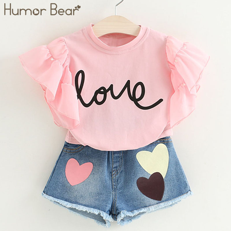 Humor Bear Kids Clothes Girls Clothes Summer Fashion Style Kids Clothing Sets Short T-shirt+Short Pants 2Pcs for Girls SuirtHumor Bear Kids Clothes Girls Clothes Summer Fashion Style Kids Clothing Sets Short T-shirt+Short Pants 2Pcs for Girls Suirt
