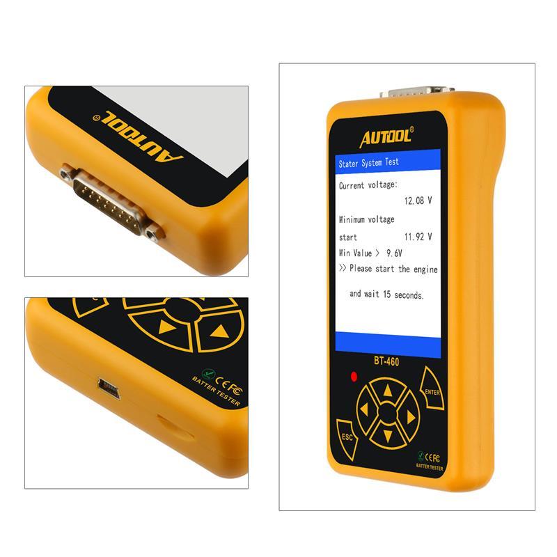 AUTOOL BT460 Car Battery Tester Digital Analysis Instruments CCA AGM GEL Auto Battery Analyzer 12V 24V Diagnostic Tool For Truck