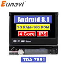 Eunavi 7 »Универсальный один 1 Din Android 8,1 4 ядра DVD плеер автомобиля стерео gps Navi Wifi BT Радио 2 Гб оперативная память Руль RDS