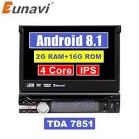 Eunavi 7'' Universal Single 1 Din Android 8.1 Quad Core Car DVD Player Stereo GPS Navi Wifi BT Radio 2GB RAM Steering Wheel RDS