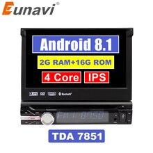 """Eunavi 7 """"Универсальный один 1 Din Android 8,1 4 ядра DVD плеер автомобиля стерео gps Navi Wifi BT Радио 2 Гб оперативная память Руль RDS"""