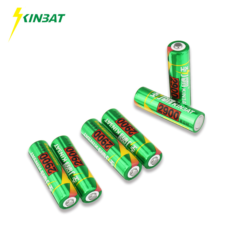 KINBAT 6pcs 2900mAh 1.2V AA Ni-MH Rechargeable Battery AA Pre-Charged NIMH Batteries Pack For Toys Microphone Remote Controls