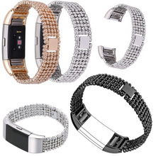 For Fitbit charge 2 Stainless Steel 5 Bead Watchband Wristband Strap Genuine colorful Metal Replacement Smart Watch Bracelet