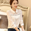 Lace Hollow Out Blouse Peter Pan Collar Crochet Shirt See Through Lace Top Blouse Long Sleeve Chiffon Flowers 2017 Off White