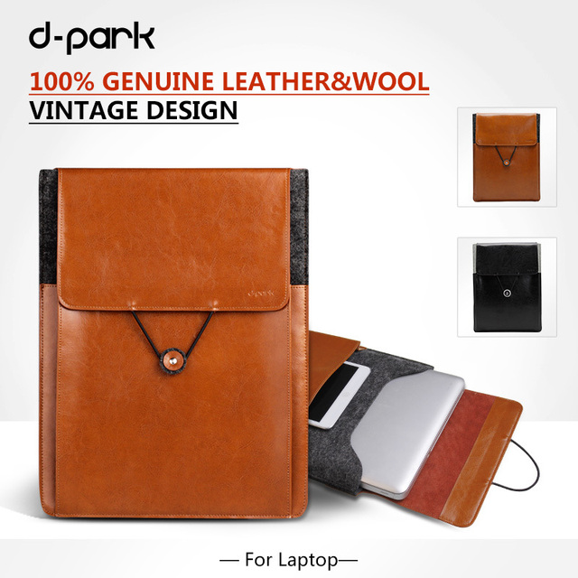 "Genuine Leather Laptop Bag For Macbook Air 11"" Pro 13"" 15"" 17"" Sleeve Notebook HP Stream13 Laptop Acer Chromebook Universal Case"