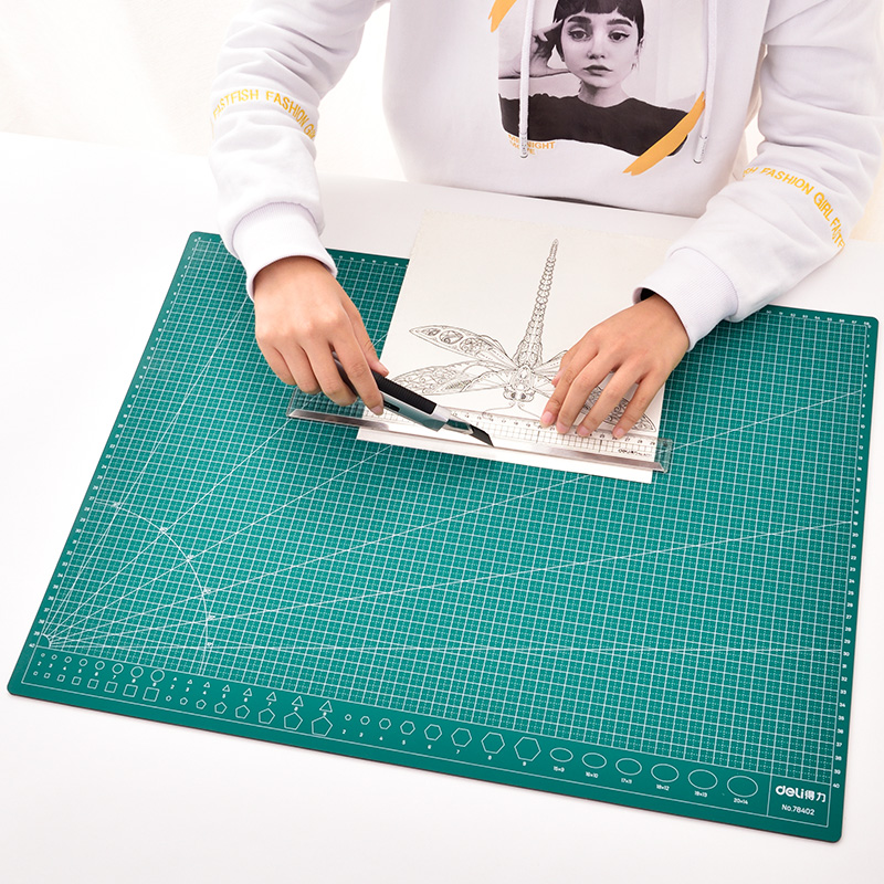 Deli A2 Pvc Multipurpose Self Healing Cutting Mats For Diy Tool Cutting Board Double Sided Durable Paper Mat 455mm X 605mm