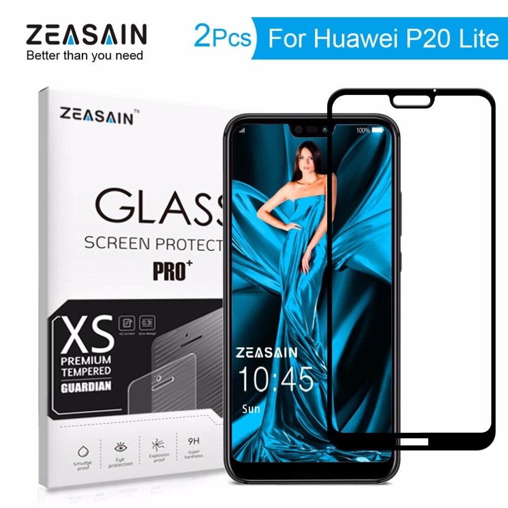 2 Pacco Originale ZEASAIN 2.5D Copertura Completa Dello Schermo In Vetro Temperato Protector Per Huawei P20 Lite P20Lite Huaweip20 Lite 9 H Vetro pellicola