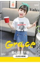 2019 summer Girl T shirt TEE short-sleeved  With shorts cotton Cartoon Bear top stereoscopic print  WHITE loose  O-NECK T-shirt kids contrast panel panda print tee with gingham shorts