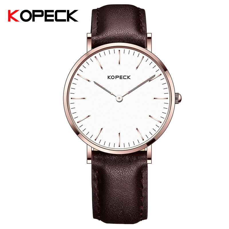 KOPECK Womens Analog Quartz Wrist Watch Leather Band Simple Business Stainless Steel Case Clock Montre Femme Women Watches 2017 feitong luxury women watch simple style stainless steel mesh band analog quartz wrist watches relogio feminino 2017 montre femme