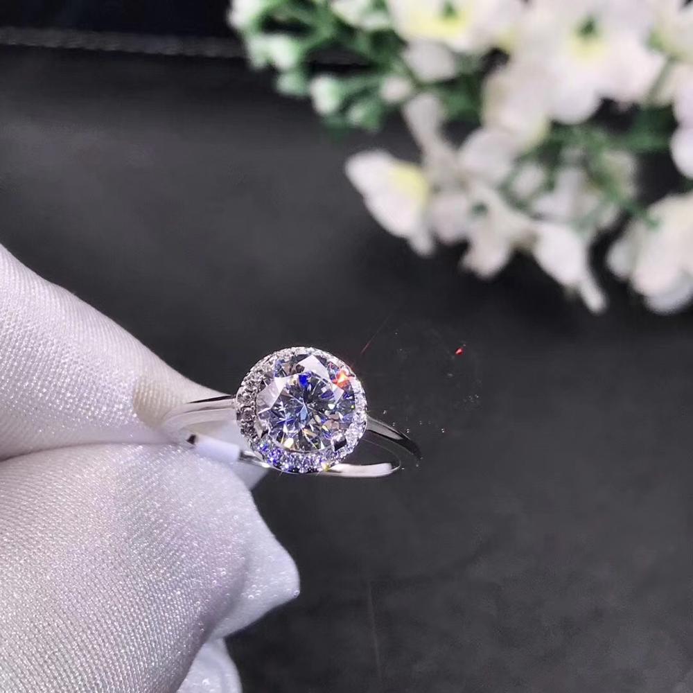 Bague Moissanite ronde en argent 1ct D VVS bague de mariage Moissanite de luxe pour femme