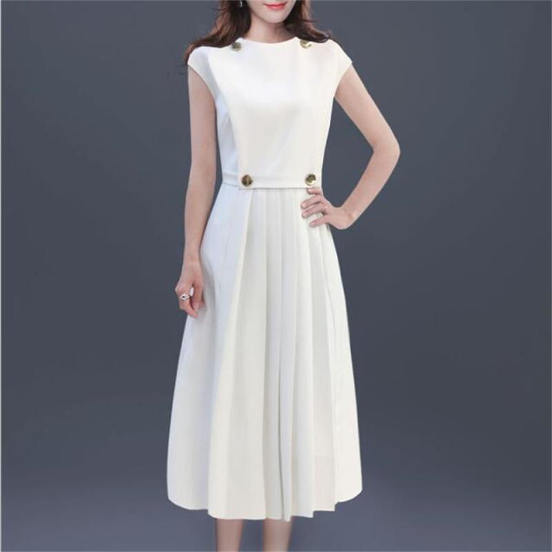 Women Runway Dress 2019 High Quality Women O Neck Short Sleeve False Two piece Patchwork Elegant