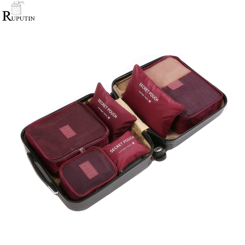 RUPUTIN 6Pcs/set Travel Organizer Storage Bags Suitcase Packing Set Storage Cases Portable Luggage Organizer Clothes Tidy Pouch