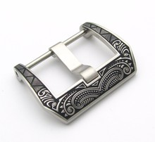 20 22 24 26mm Hot Sell Wholesale New Mens 316L Stainless Steel Laser Engraved in Black Silver Tang Screw Buckle Western Antique